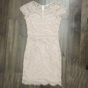 Dusty Rose Lace Short Sleeve Dress